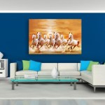 Canvas Painting - 7 Horses Running Vastu Wall Painting for Living Room