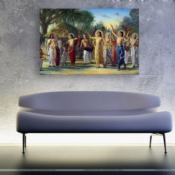 Canvas Painting - Beautiful Lord Krishna With Followers Art Wall Painting for Living Room