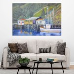 Canvas Painting - Beautiful Lake Houses Art Wall Painting for Living Room