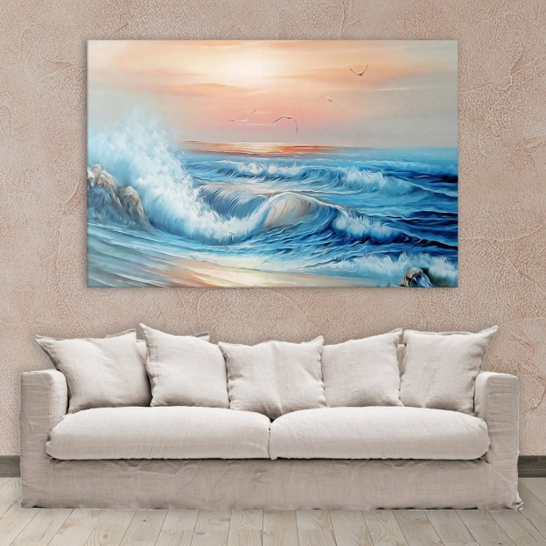 Canvas Painting - Beautiful Ocean Waves Nature Art Wall Painting for Living Room
