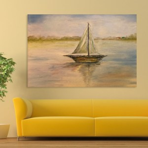 Canvas Painting – Beautiful Boat In Lakes Art Wall Painting for Living Room, Bedroom, Office, Hotels, Drawing Room (91cm X 61cm)