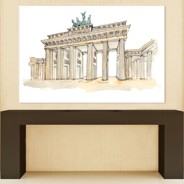 Canvas Painting - Brandenburg Gate Berlin Illustration Art Wall Painting for Living Room