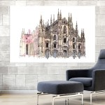 Canvas Painting - Milan Cathedral Italy Illustration Art Wall Painting for Living Room