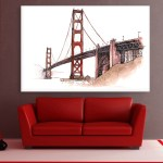 Canvas Painting - Golden Gate Bridge Illustration Art Wall Painting for Living Room