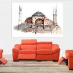 Canvas Painting - Hagia Sophia Turkey Illustration Art Wall Painting for Living Room
