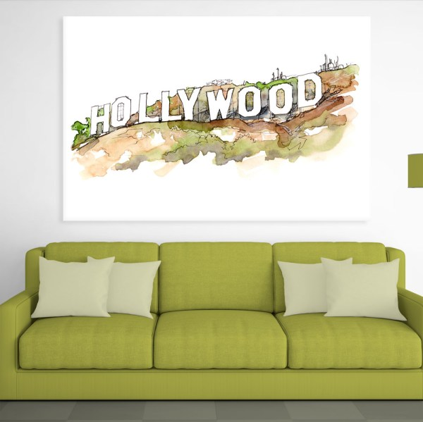 Canvas Painting - Hollywood Los Angeles Sign Illustration Art Wall Painting for Living Room