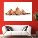 Canvas Painting - Piramids of Giza Illustration Art Wall Painting for Living Room