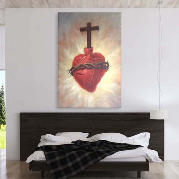 Canvas Painting - Beautiful Sacred Heart Jesus Art Wall Painting for Living Room