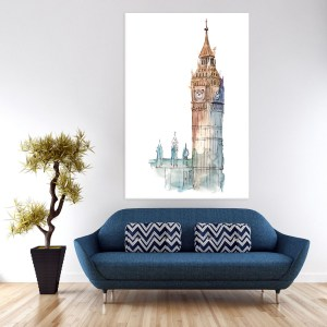 Canvas Painting – Beautiful Big Ben London Illustration Art Wall Painting for Living Room, Bedroom, Office, Hotels, Drawing Room (61cm X 91cm)