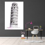 Canvas Painting - Leaning Tower of Pisa Illustration Art Wall Painting for Living Room