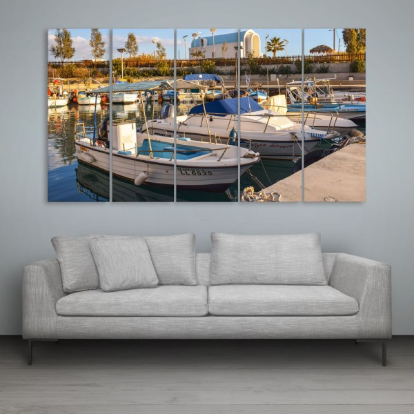 Multiple Frames Beautiful Boats Wall Painting for Living Room