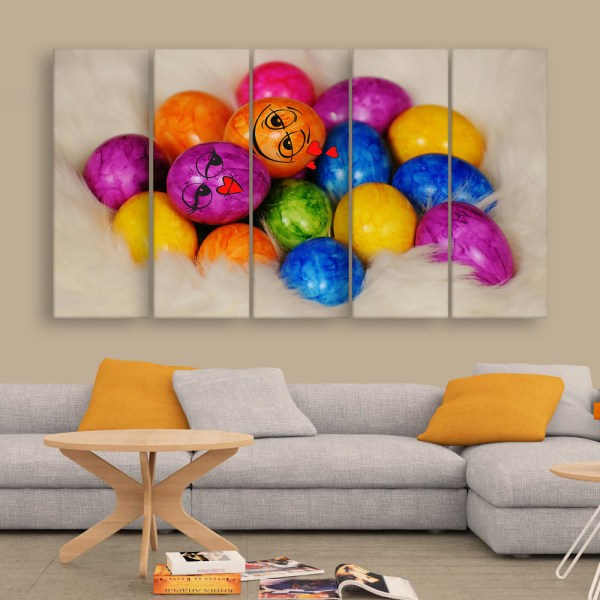 Multiple Frames Colorful Easter Eggs Wall Painting for Living Room