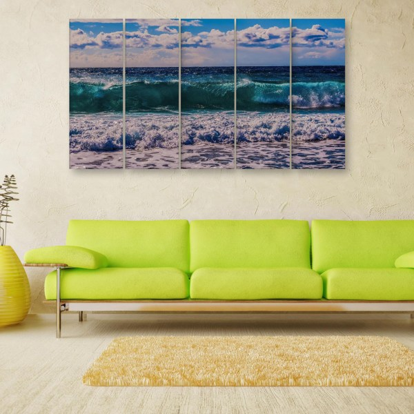 Multiple Frames Beautiful Sea Tides Wall Painting for Living Room