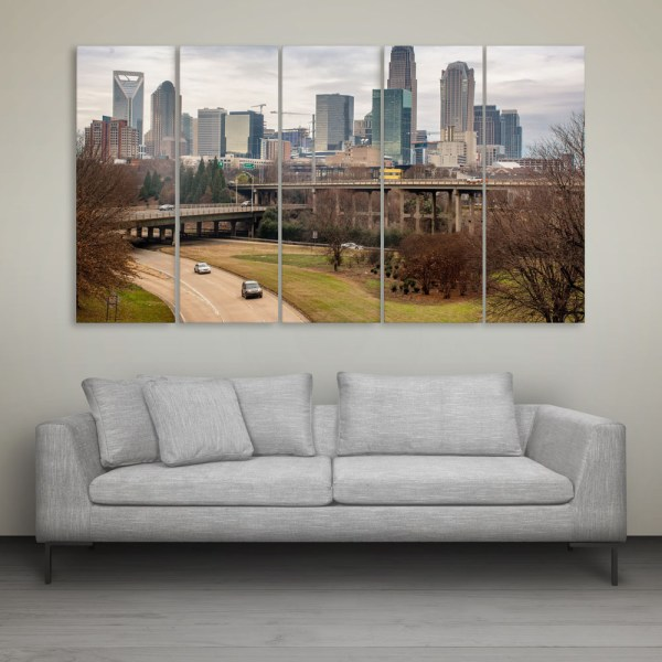 Multiple Frames Beautiful Skyscrapers Wall Painting for Living Room