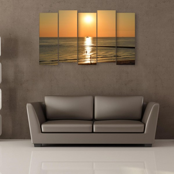 Multiple Frames Beautiful Sea Sunset Wall Painting for Living Room