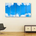 Multiple Frames Clouds Wall Painting for Living Room