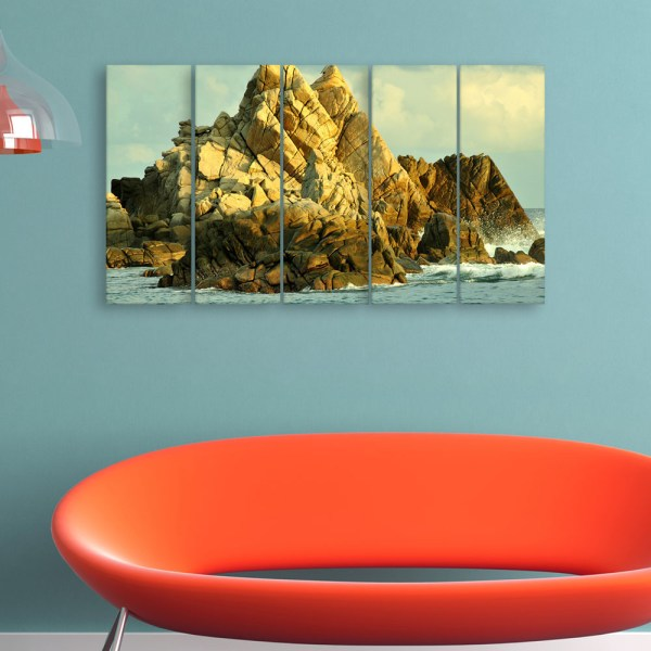 Multiple Frames Beautiful Rocks Wall Painting for Living Room