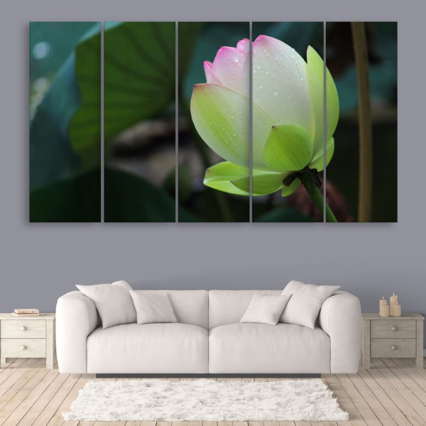 Multiple Frames Beautiful Lotus Flower Wall Painting for Living Room