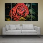 Multiple Frames Beautiful Red Rose Wall Painting for Living Room