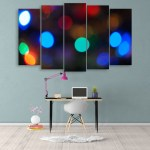Multiple Frames Beautiful Bokeh Light Wall Painting for Living Room