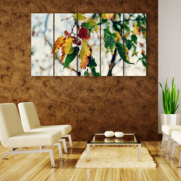 Multiple Frames Beautiful Leafs Wall Painting for Living Room