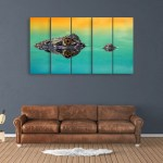 Multiple Frames Beautiful Crocodile Wall Painting for Living Room