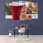 Multiple Frames Beautiful Cup Wall Painting for Living Room