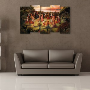 Multiple Frames Beautiful Krishna Gokul Wall Painting for Living Room