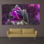 Multiple Frames Beautiful Purple Flower Wall Painting for Living Room