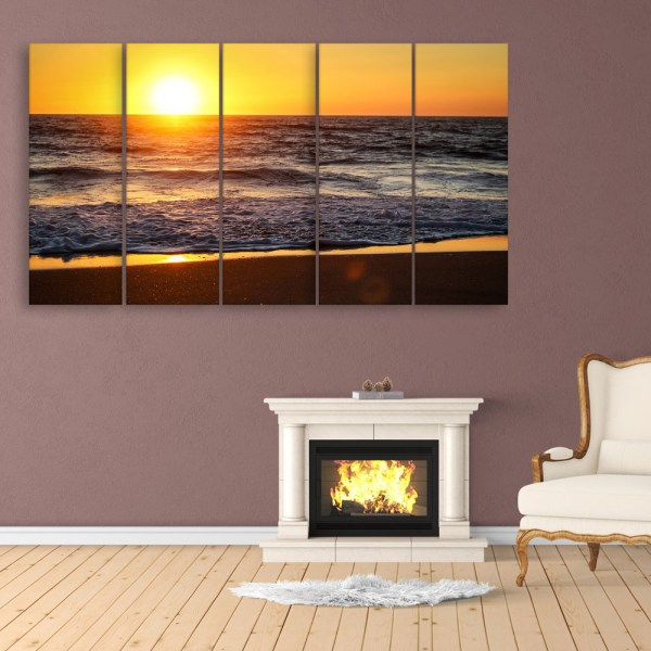Multiple Frames Beautiful Sunset Wall Painting for Living Room