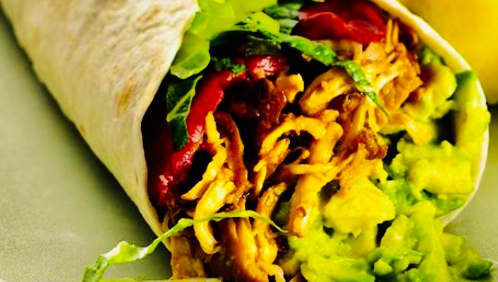 shredded chicken wrap