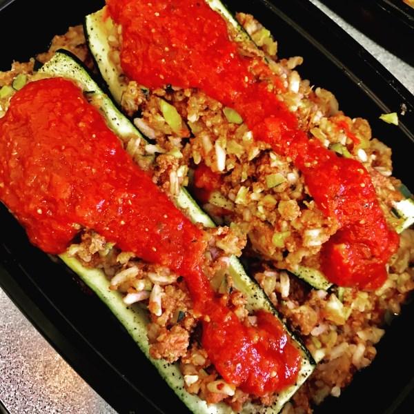stuffed organic zucchini boat