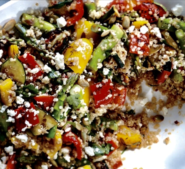 roasted veggie quinoa feta salad