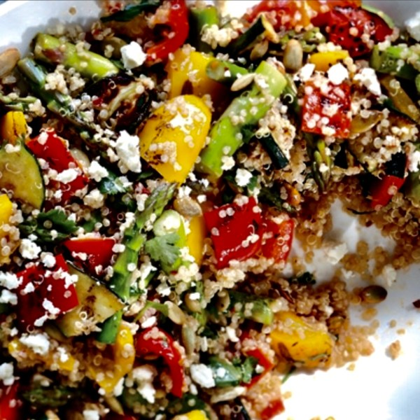 roasted veggie quinoa feta salad