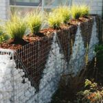 Muro di Recinzione con Gabbioni Metallici per Giardino