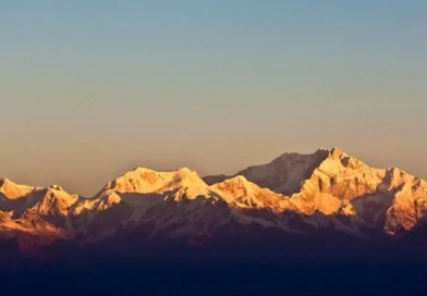 View of Kanchenjunga peaks from sunrise point at tiger hills in Darjeeling