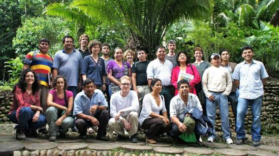 Participants at the SimPachamama workshop near Rurrenabaque, Bolivia, April 2012. Includes Teresa de la Fuente, Charles Palmer, Esther Lopez, Joaquin Mayorga, Pablo Ruiz, Diana Weinhold, Ben Groom, Lykke Andersen, Juan Carlos Ledezma.