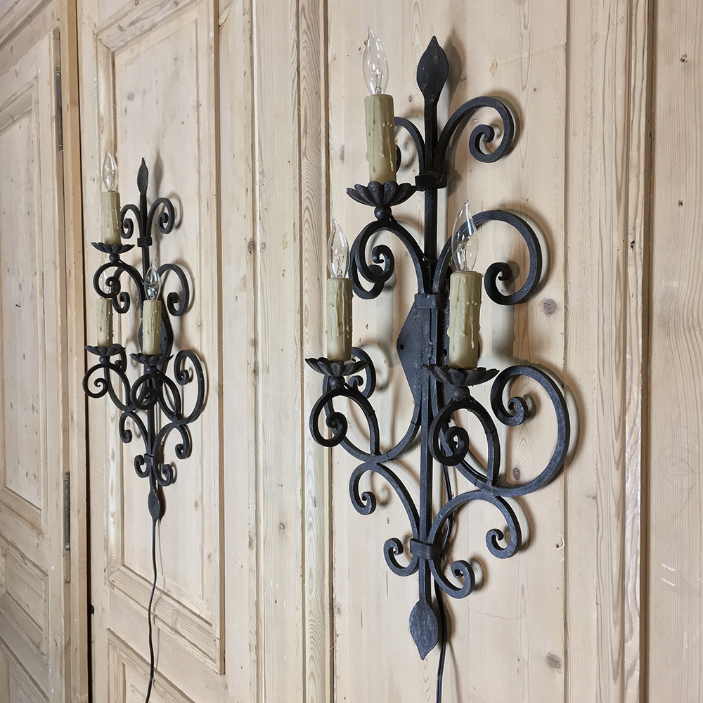 Pair Antique Wrought Iron Electrified Wall Sconces ... on Wrought Iron Sconces Wall Lighting id=19597