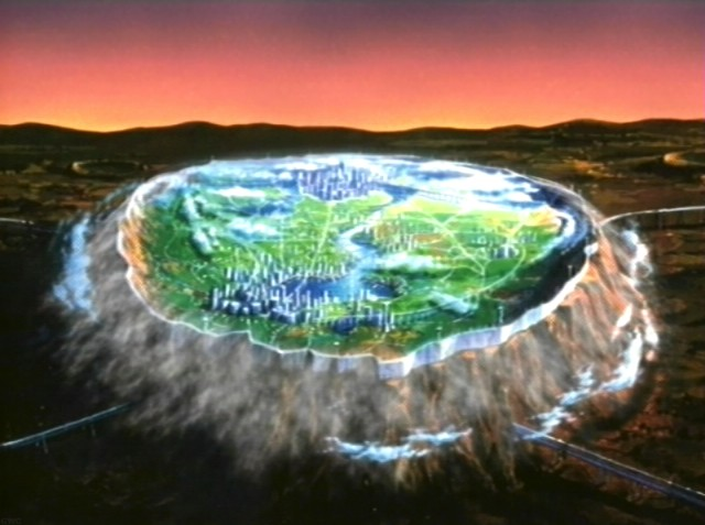 A locally terraformed Mars from the great anime Cowboy Bebop. Localised terraforming might not be a good idea as you'd be constantly battling against the hostile conditions outside, and one large crack in the dome would mean certain death for everyone inside.