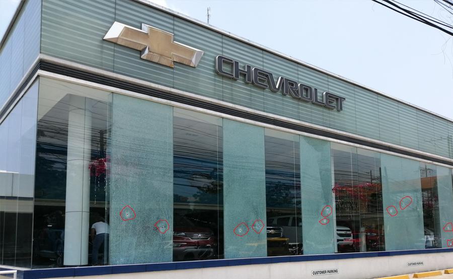Chevrolet shop bullet holes