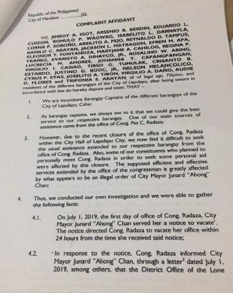 Complaint affidavit for chan1