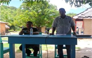 Ps Croal, addressing the residents of Pia Pang, Region 9.