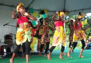 The Linden cultural group performing a traditional African dance. [GINA Photo]