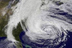 A satellite image shows Hurricane Sandy as it approached the East Coast on Oct. 28, 2012. [PHOTO BY NASA VIA GETTY IMAGES]