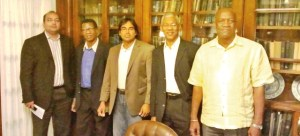 AFC defectors: From left to right: Rab Mukraj, Dr Asquith Rose and Tarron Khemraj with APNU leader David Granger Joseph Harmon.