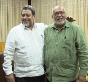 PM Ralph Gonsalves (left) and President Ramotar yesterday, September 9 at the Office of the President.