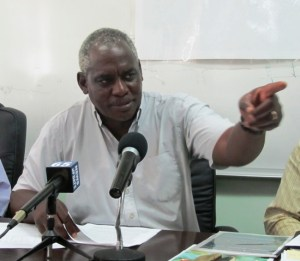 Public Works Minister, Robeson Benn during today's press conference. [iNews' Photo]