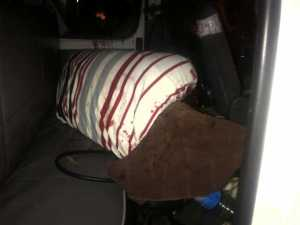 The body of the deceased in the minibus. [Photo: Leroy Smith]