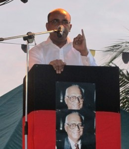 Former President Bharrat Jagdeo delivering remarks at the PPP's 21st Anniversary. [iNews' Photo]