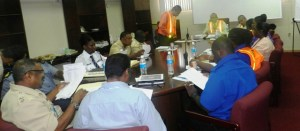 Members of the Airport Emergency Committee discussing the logistics on October 23 at the CJIA Conference Room.